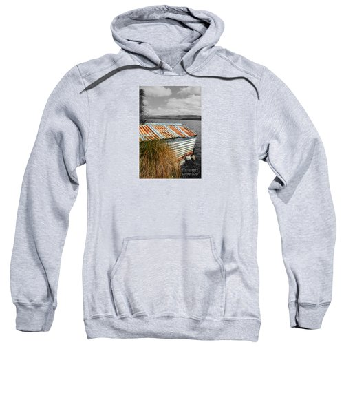 Sweatshirt featuring the photograph Rusty Boatshed On Lake. by Nareeta Martin