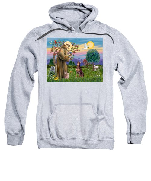 Saint Francis Blesses A Red Doberman Sweatshirt