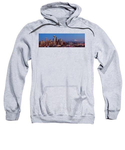 Seattle Winter Evening Panorama Sweatshirt