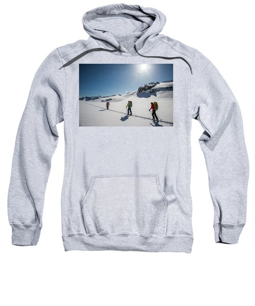 Skiers Ascend A Skin Track At The Top Sweatshirt
