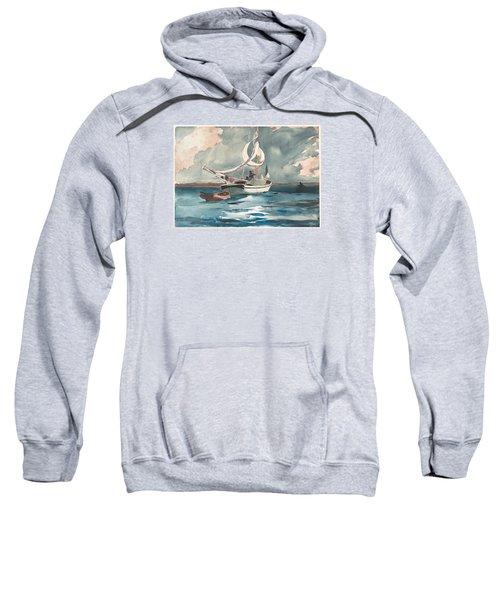 Sweatshirt featuring the painting Sloop  Nassau Bahamas by Winslow Homer