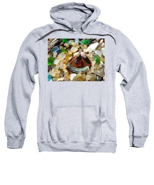 Smiley Face Art Prints Seaglass Shells Agates Beach Sweatshirt