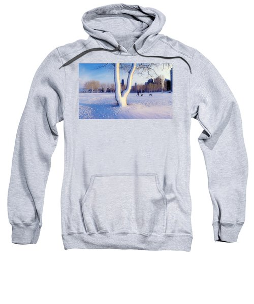 Snow Covered Lakefront Park In Winter Sweatshirt