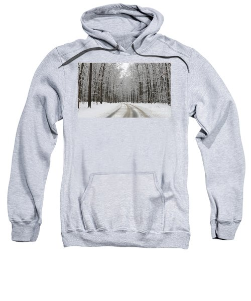 Snowy Road In Oak Openings 7058 Sweatshirt