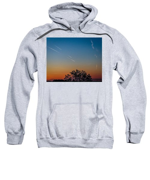 Sweatshirt featuring the photograph Squadron Of Jet Trails Over Ireland by James Truett