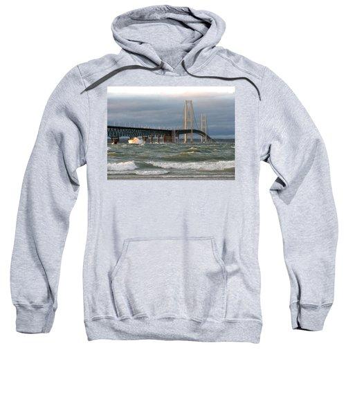 Stormy Straits Of Mackinac Sweatshirt