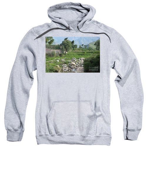 Stream Trees House And Mountains Swat Valley Pakistan Sweatshirt