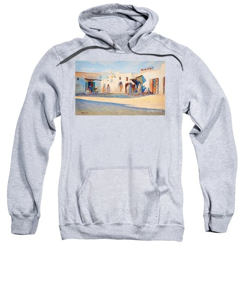 Sweatshirt featuring the painting Street Scene From Tunisia. by Celestial Images