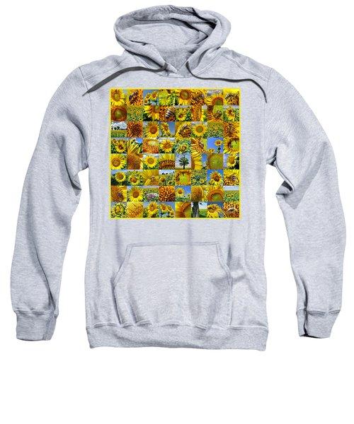Sunflower Field Collage In Yellow Sweatshirt