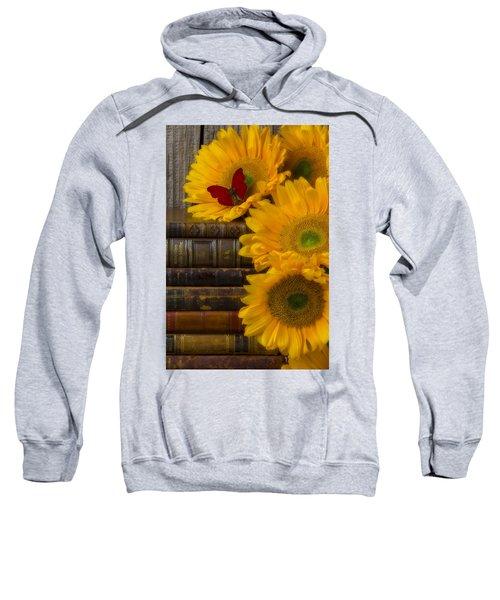 Sunflowers And Old Books Sweatshirt