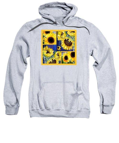 Sunflowers Sunny Collage Sweatshirt by Irina Sztukowski