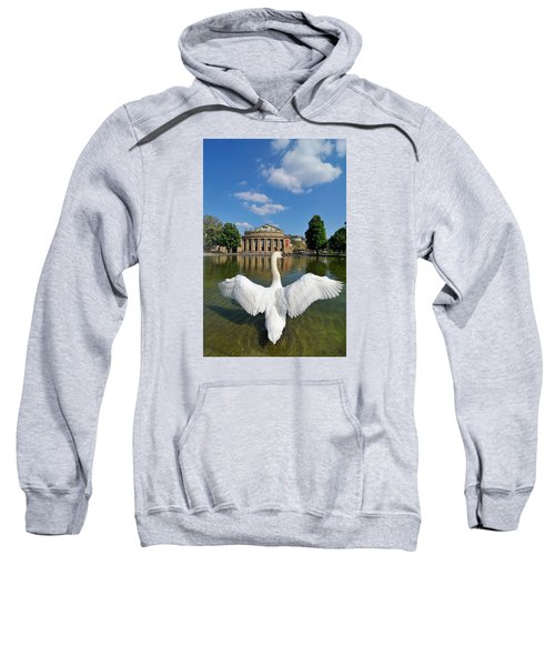 Swan Spreads Wings In Front Of State Theatre Stuttgart Germany Sweatshirt by Matthias Hauser
