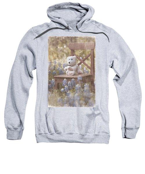 Teddy Bear And Texas Bluebonnets Sweatshirt