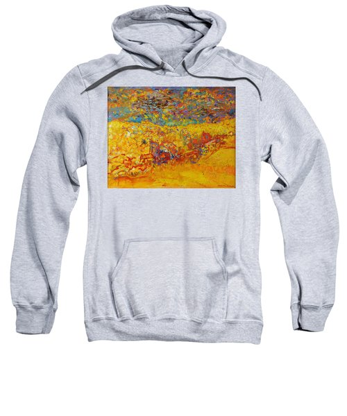 The Little Red Church Oil On Canvas Sweatshirt