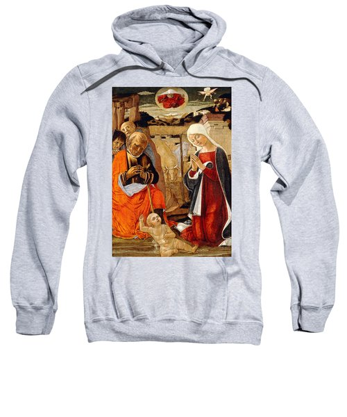 The Nativity With The Annunciation To The Shepherds In The Distance Sweatshirt