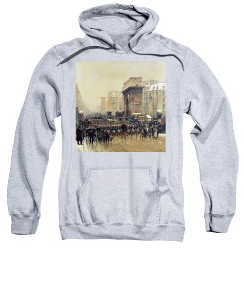 The Passing Regiment, 1875 Oil On Canvas Sweatshirt