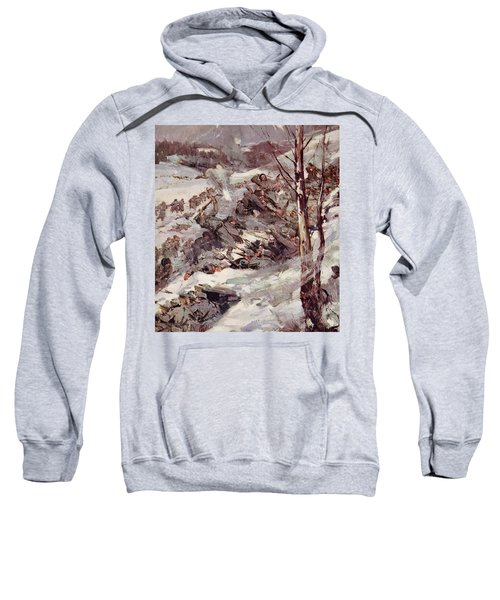 The Russians Fighting Their Way Over The Carpathians Sweatshirt by Cyrus Cuneo