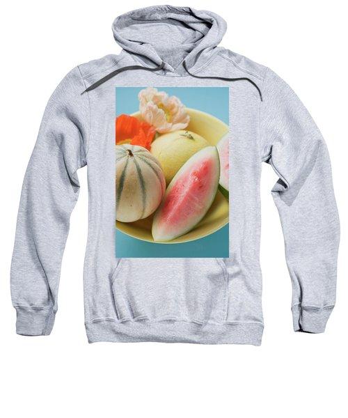 Three Different Melons In Bowl (detail) Sweatshirt