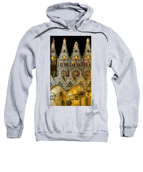 Three Tiers - Sagrada Familia At Night - Gaudi Sweatshirt