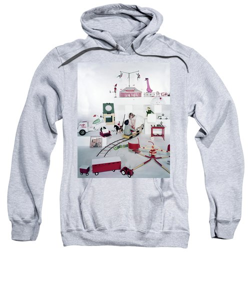 Two Children Playing With Vintage Toys Sweatshirt