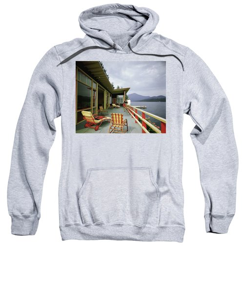 Two Women On The Deck Of A House On A Lake Sweatshirt