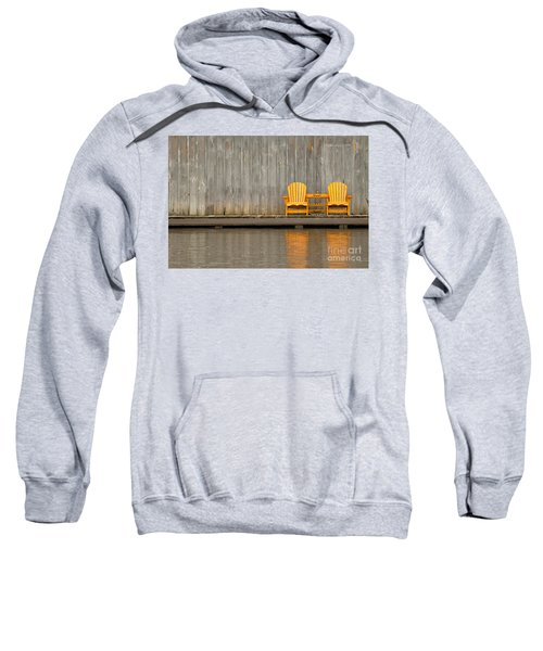 Two Wooden Chairs On An Old Dock Sweatshirt