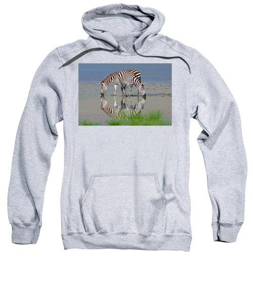 Two Zebras Drinking Water From A Lake Sweatshirt