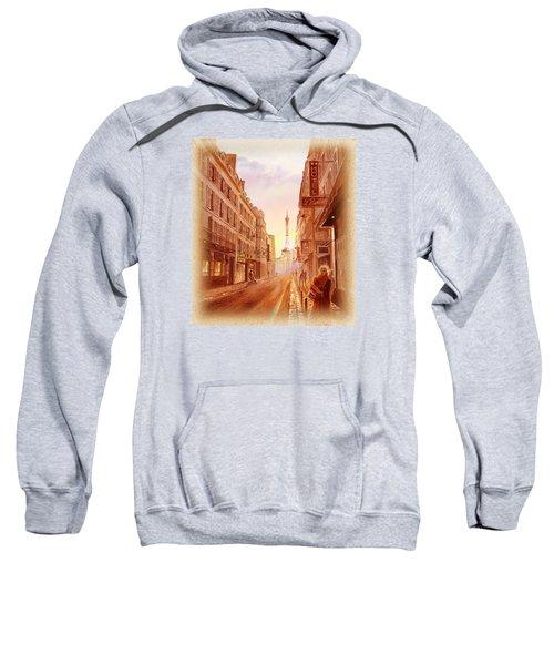 Vintage Paris Street Eiffel Tower View Sweatshirt by Irina Sztukowski