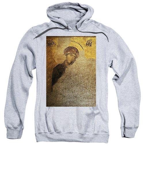 Virgin Mary-detail Of Deesis Mosaic  Hagia Sophia-day Of Judgement Sweatshirt