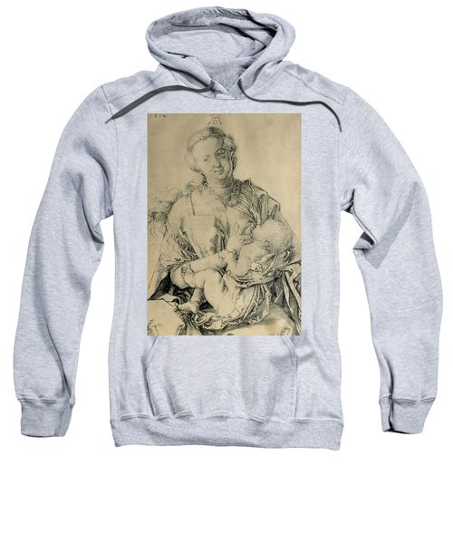 Virgin Mary Suckling The Christ Child, 1512 Charcoal Drawing Sweatshirt