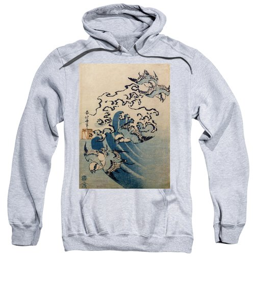 Waves And Birds Sweatshirt by Katsushika Hokusai