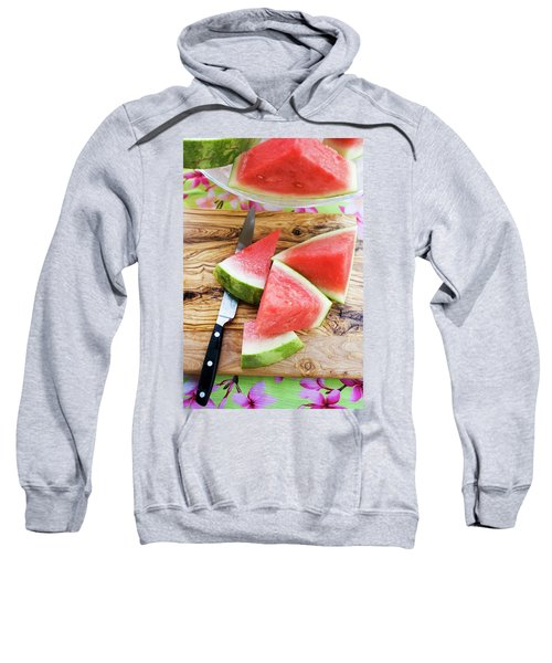 Wedges Of Watermelon And Knife On A Wooden Board Sweatshirt