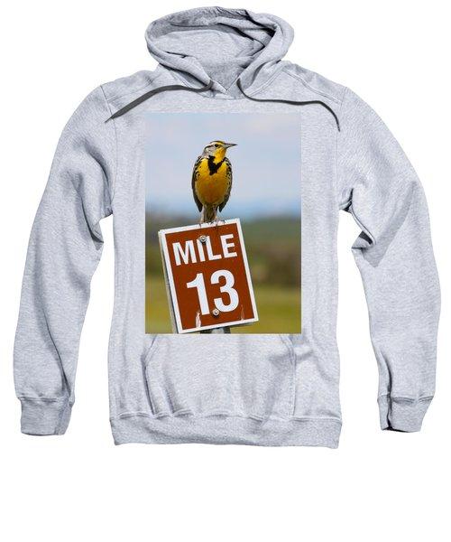 Western Meadowlark On The Mile 13 Sign Sweatshirt by Karon Melillo DeVega
