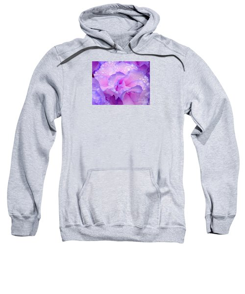 Sweatshirt featuring the photograph Wet Rose In Pink And Violet by Nareeta Martin