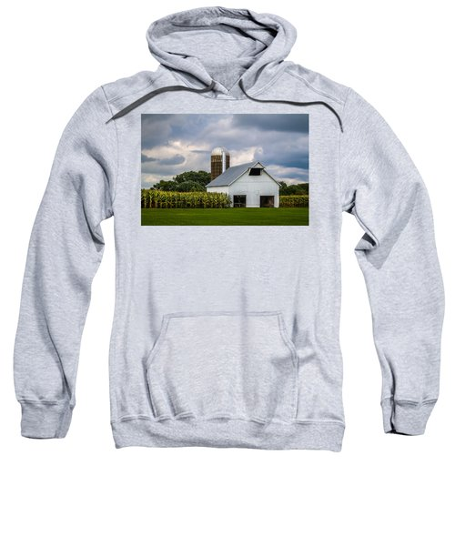 White Barn And Silo With Storm Clouds Sweatshirt
