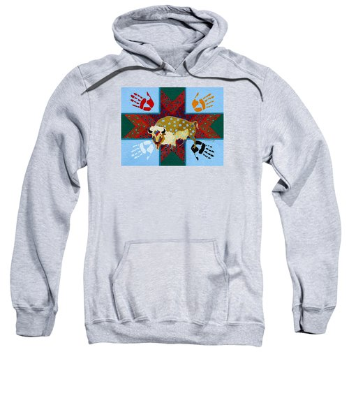 Sweatshirt featuring the painting White Buffalo Calf Legend by Chholing Taha