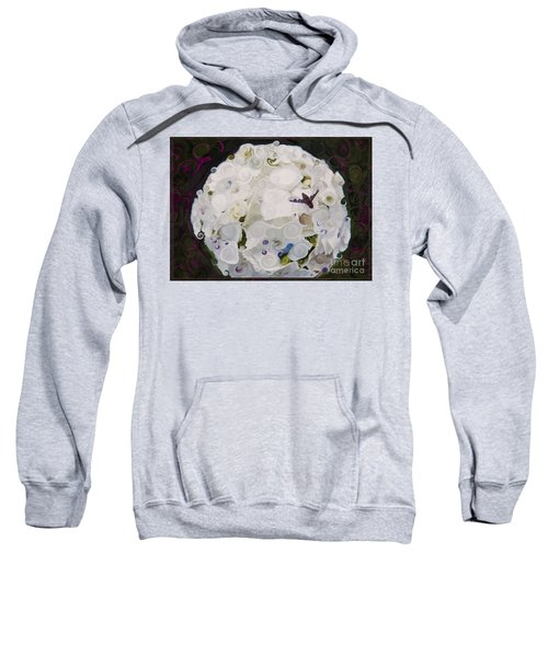 White Flower And Friendly Bee Mixed Media Painting Sweatshirt