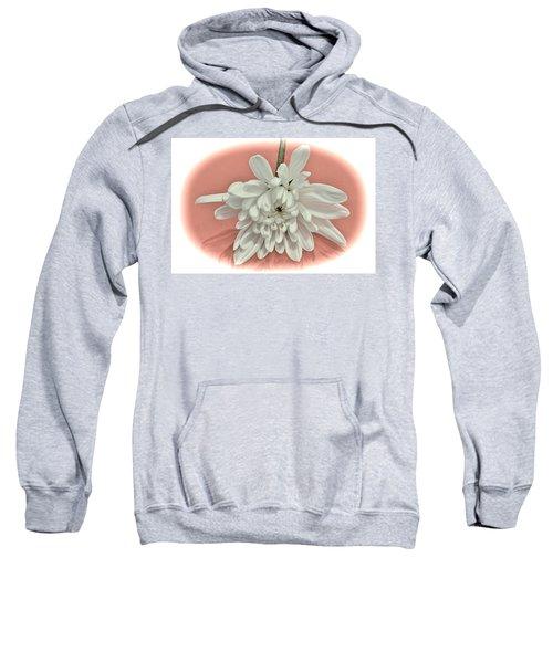 White Flower On Pale Coral Vignette Sweatshirt