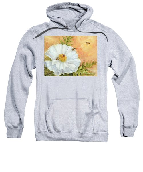 White Poppy And Bees Sweatshirt
