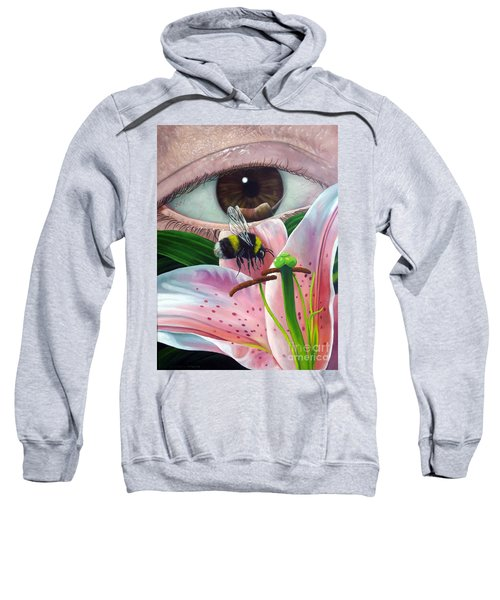 White Tailed Bumble Bee Upon Lily Flower Sweatshirt