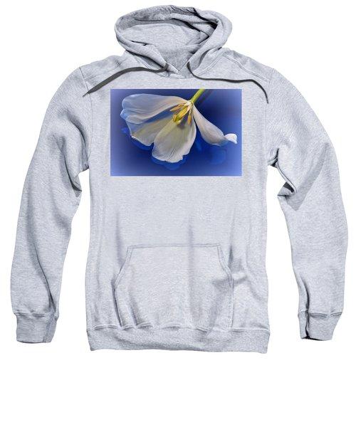 White Tulip On Blue Sweatshirt