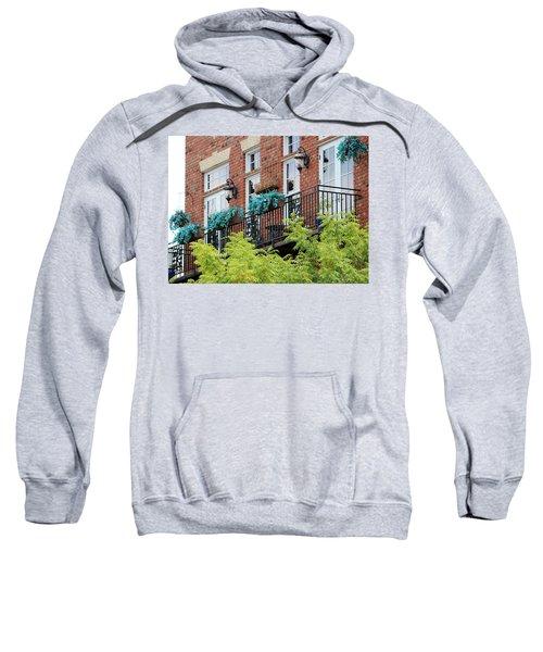 Blue Flowers On A Balcony  Sweatshirt