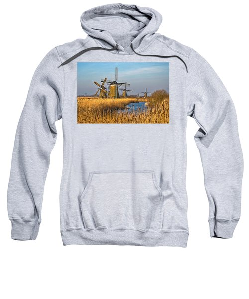 Windmills And Reeds Near Kinderdijk Sweatshirt