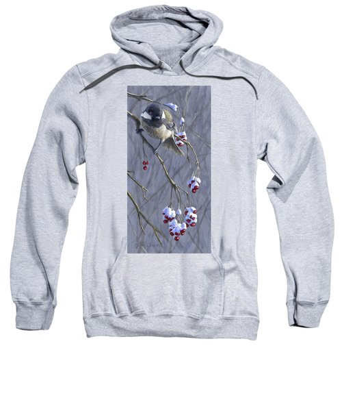 Winter Harvest 1 Chickadee Painting Sweatshirt