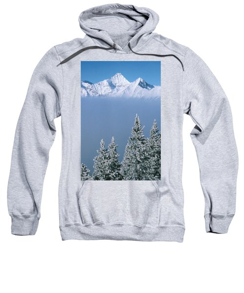 Winter Snowscape Mountain And Evergreens Sweatshirt