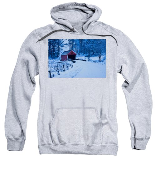 winter Vermont covered bridge Sweatshirt