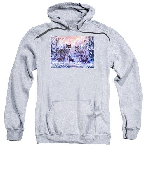 Winter Wolf Family  Sweatshirt by Jan Patrik Krasny