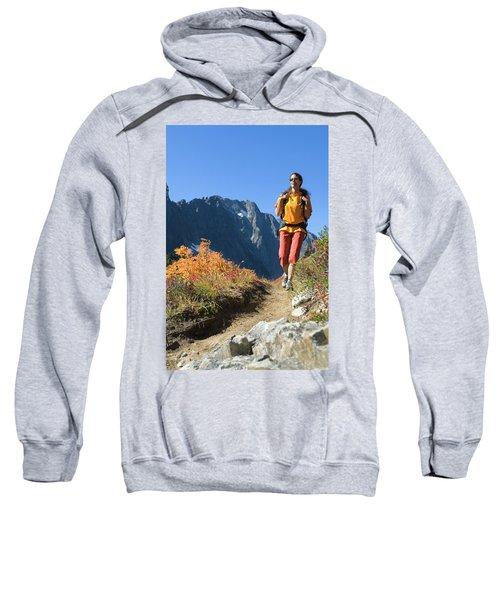 Woman Hiking On Mountain Trail Sweatshirt