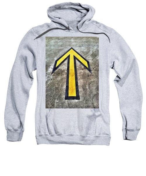 Yellow Directional Arrow On Pavement Sweatshirt
