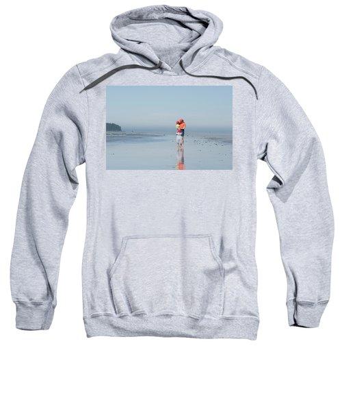 Young Mother Walks Along Beach Sweatshirt